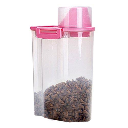PISSION Lebensmittel Vorratsbehälter mit abgestuften Tasse und Siegelschnallen für Küche Getreide Reis Haustier Katze Lebensmittel Vorratsdosen (Rosa)