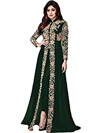 ANK Anarkali kurtis for women, embroidered banglori georgette dress material Semi-Stitched Long -
