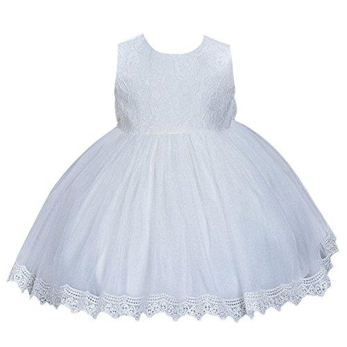 Happy Cherry Taufkleid Kleider Baby Süßes Kleid Kleine Prinzessin Kleid Ärmelloses Falten Kleid mit Große Schleife Gr.18 für die Körpergröße 80-86cm(12-18 Monate) - Weiß (Schleife Kleine Kleid)