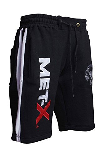 Men's Muscle Works Gym Training Shorts, Fitness String Fleece Shorts - Black MX MW Shorts