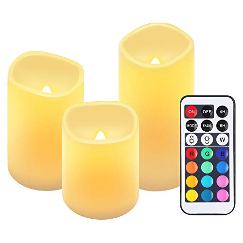 AMIR 3er RGB LED Kerzen, LED Teelichter mit 4/8 -Stunden Timer, Flammenlose Kerzen mit Fernbedienung, 4 Helligkeit, Hoch 7,8cm / 9,86cm / 12,45cm, Elektrische Teelichter für Weihnachten, Party usw