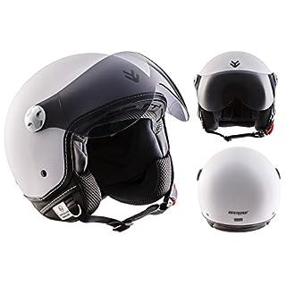 """Armor · AV-84 """"Matt White"""" (white) · Open Face Helmet · Motorbike Scooter Motorcycle Jet Retro Pilot · ECE certified · Visor · Click-n-Secure™ Clip · Carrier Bag · XS (53-54cm)"""