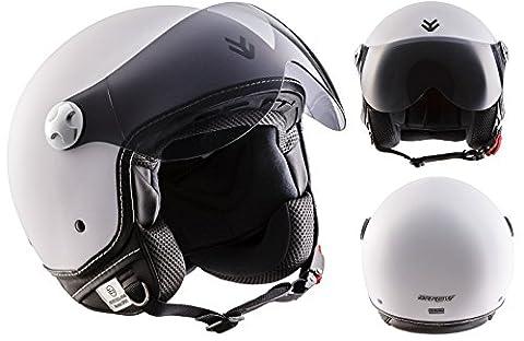 ARROW AV-84 Matt White · Demi-Jet Biker Vespa Cruiser Helmet