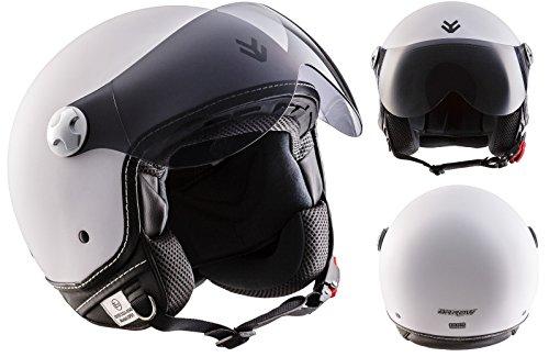 ARROW AV-84 Matt White · Motorrad-Helm Jet-Helm Retro Helmet Chopper Cruiser Bobber...