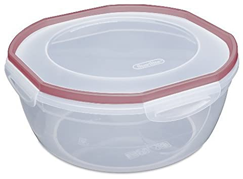 Sterilite 03948604 Ultra Seal 4.7-Quart Bowl Clear Lid and Base with Red Rocket Gasket Accents, 4-Pack by Sterilite