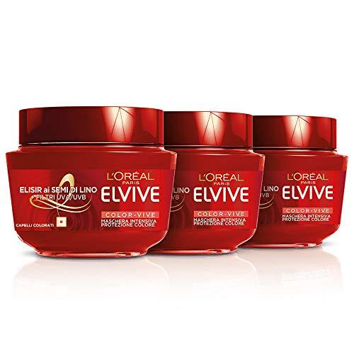 Elvive L'Oréal Paris Elvive Maschera Protettiva per Capelli Colorati Color-Vive, 3 Confezioni da 300 ml [900 ml]