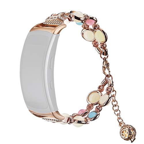 HSKB Mode Elegant Damen Metall Armband, Schmuck Glanz Ersatz Watch Band Jewelry Metallarmband mit Schmuck Ersatzband für Samsung Gear Fit 2 / Pro (Roségold)