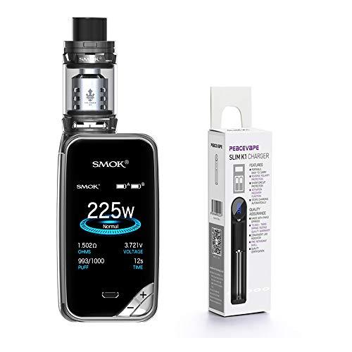 Authentique SMOK X PRIV Kit 225W TFV12 Prince 2mL (Canon à Feu) SMOK XPRIV Cigarette électronique Starter Kit avec PEACEVAPE TM 18650 Chargeur mince à 1 fente