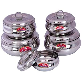 Aristo Steel Containers, 250ml -1000ml , 5 Pieces, Silver