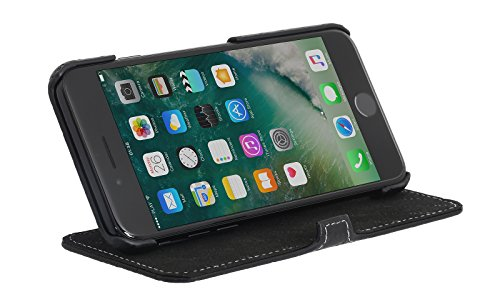 StilGut Book Type Case mit Standfunktion und Clip, Hülle Leder-Tasche für iPhone 8 und iPhone 7 (4,7 Zoll), Schwarz Schwarz Prestige