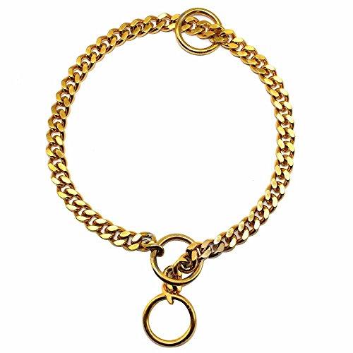 1 Stück Durchmesser 3 mm starke Silber Gold Chrom Stahl Metall Dog Training Choke Halsband Hunde Halsbänder Kette, Gold, 55 cm (Gold Dog Choke-kette)