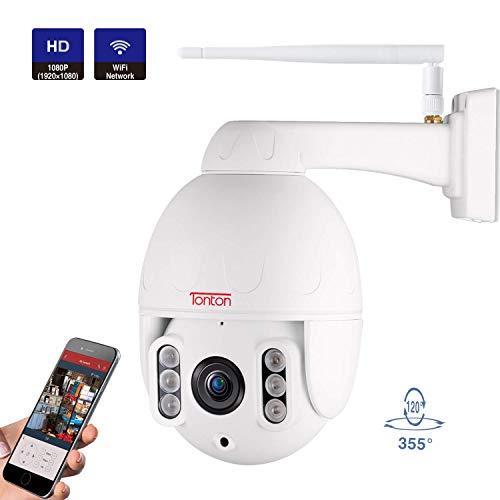 Tonton Aussen 1080P Dome IP Überwachungskamera PTZ WLAN, 5X Optischer Zoom, Bewegungserkennung, 60M (200Ft) Nachtsicht, Support SD Karte bis 128 GB, Echtzeit- und Fernansicht Smartphones/Pad/Windows -