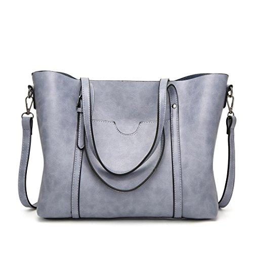 Handtasche Damen TUDUZ Umhängetasche Schultertasche Crossbody Tote Eimer Tasche Messenger Bag (Grau) (Messenger Kurze Bag Tote)