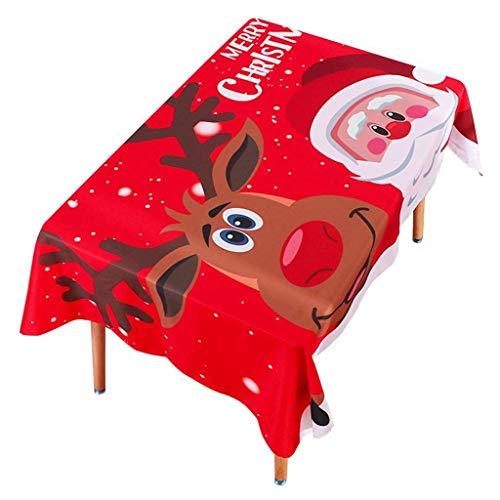 XZANTE Feier Tisccken Weihnachtsmann & Elch Weihnachten Feiertags Drucktuch unterstuetzte Tisccke von, Esszimmer Kueche rechteckige Tisch Abdeckung