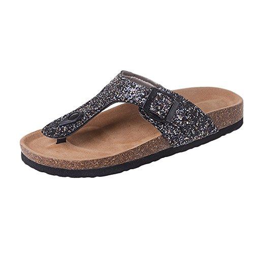 Sandali Paillettes - Infradito da Donna - Pantofole Sughero Flip Flop Nero