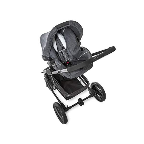 Hauck Pacific 4 Shop N Drive, Lightweight Pushchair Set with Group 0 Car Seat, Carrycot Convertible to Reversible Seat, Footmuff, Large Wheels, From Birth to 25 kg, Melange Charcoal Hauck  10