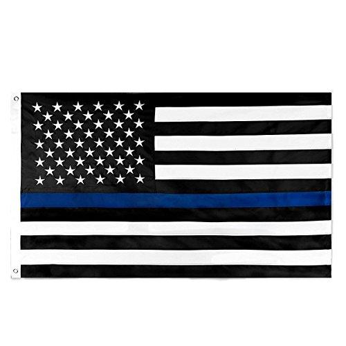 Xiton Homdox Thin Blue Line Flag 3x5 Ft Nylon Gestickte Sterne Genäht Stripes Blue Line USA Banner Flaggen -