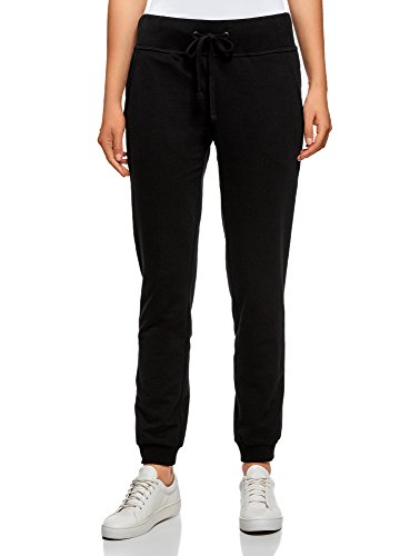 oodji Ultra Damen Jersey-Hose im Sport-Stil, Schwarz, DE 34 / EU 36 / XS
