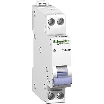 disjoncteuur - schneider dclic xp - phase / neutre - 16 ampères - courbe c - peig - schneider electric 20726