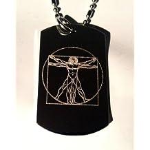 Da Vinci Vitruvian Man Vitruvius Renaissance Logo Symbols - Military Dog Tag Luggage Tag Key Chain Metal Chain Necklace by Dog Tags