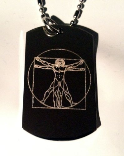 Da Vinci Vitruvian Man Vitruvius Renaissance Logo Symbole–Militärische Erkennungsmarke...