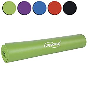 Physionics Fitness Exercise Yoga Mat 190 x 100 x 1.0 cm DIFFERENT COLOURS (Green)