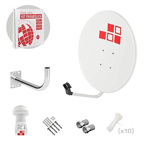 Diesl.com - Kit parabolico da 60cm + LNB + Supporto antenna + Borchie a muro + 2x F Connecttori + 10x Flange