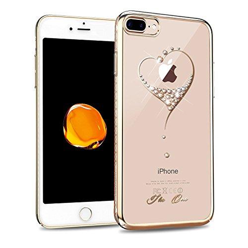 Iphone 7plus case, kingxbar da cristalli swarovski element, clear design slim stampato trasparente duro pc back cover per apple iphone 7plus (14cm)