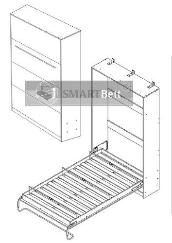 Schrankbett Smartbett Foldaway bed Murphy Bed 90×200 Vertikal in der Farbe Eiche Sonoma - 2