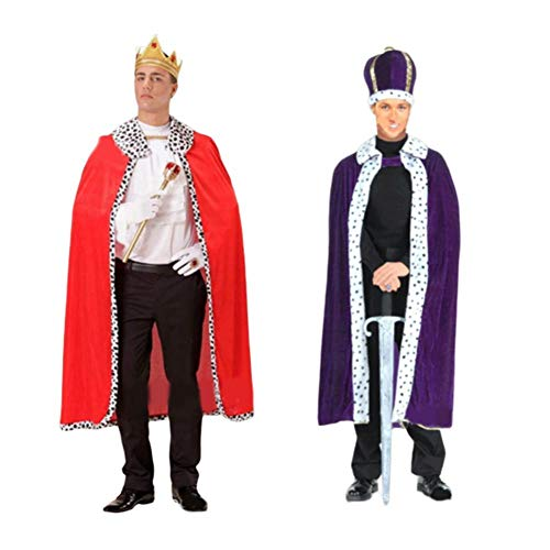 Kostüm Robe Und König Krone - Nearthde Adult Halloween Party König Kostüm, Winter Fantasy Halloween Kostüme Cape King Queen Regal Robe Kostüm
