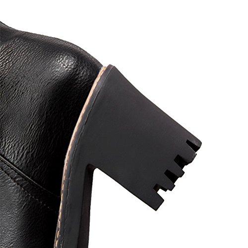 VogueZone009 Zip Femme Haut Haut Métal Talon Noir à Demi Unie Mélangee avec Bottes Couleur Matière 00rwgdvq