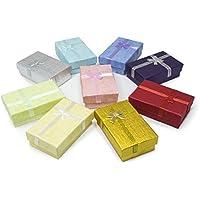 TRIXES 12 PC Cajas de Regalo Rectangulares Elegantes con Cinta y Lazo - para Presentación de Joyería - Cajas para Joyas - Inserto Espuma con Ranura para Pendientes y Anillos