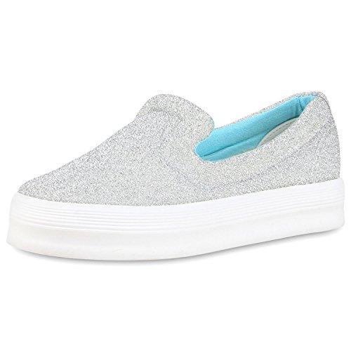 Komfortable Damen Sneakers | Bequeme Slipper| Funkelnde Glitzerapplikationen | Modische Plateausohle | Gr. 36-41 Silber Meliert