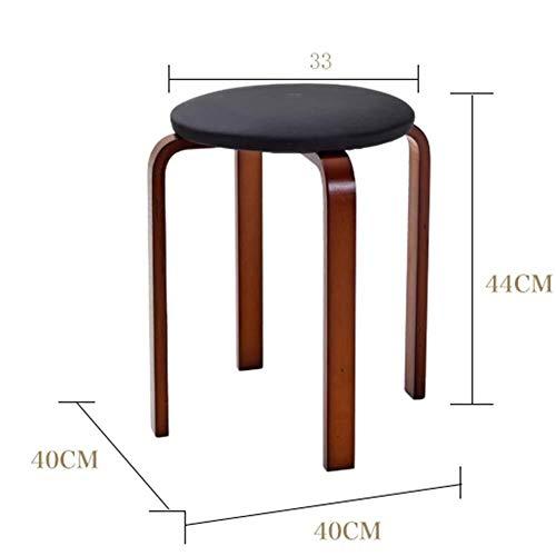 WSK-Hocker Arbeitshocker Sitzhocker Möbel Stacking Essen Hocker Sitz Küche Wohnzimmer Frühstück Bar Stapelbare Möbel (Color : Black, Size : 33 * 44cm) -