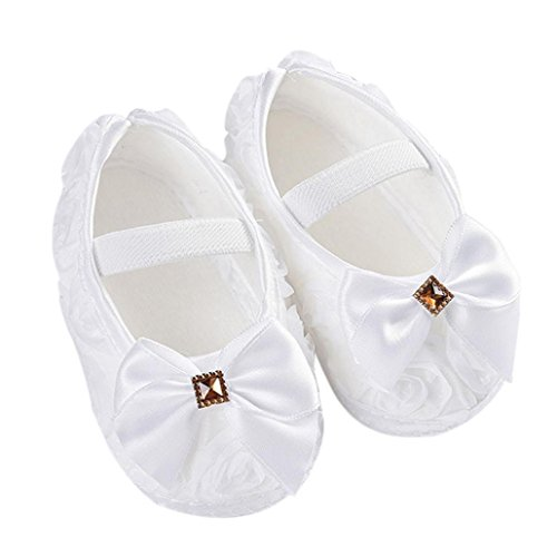 Clode®Toddler Kid Baby Girl Rose bowknot Elastic Band Newborn Chaussures de marche (6 ~ 12 Mois, Blanc)