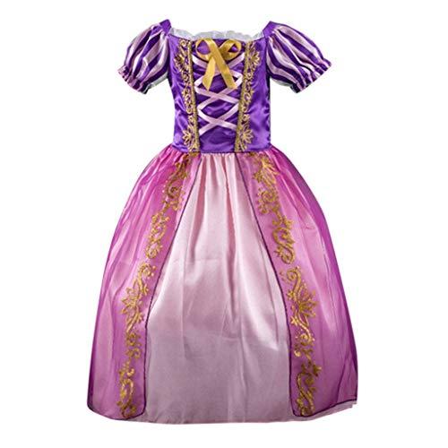 Zeitschriften Kostüm - INLLADDY Kleider Mädchen Gestreifte Kurzarm Fliege Bestickte Vintage Prinzessin Kleid Tutu Prom Ballkleid Formale Partei Lang Kleid Kostüm Violett 130