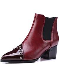 442804e23390b ZHZNVX Zapatos de Mujer PU Primavera y otoño Botines Botines Botines con  Remaches en el talón Grueso Punta Blanca Negro   Rojo