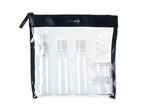 nex|trip Kulturbeutel Transparent + Behälter für Flüssigkeiten Handgepäck I Kosmetiktasche durchsichtig für Flugzeug I Reiseset Kosmetik Beutel