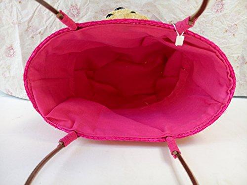 Tonwhar ® Sweet Lady Petit sac à main fourre-tout en Paille Motif sac de plage en Paille Rouge - Rose