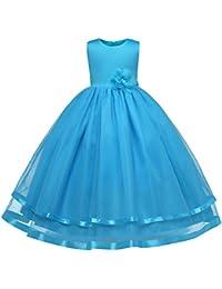 FEOYA Vestido de Poliéster de Verano para Boda Ceremonia Fiesta de Niñas Transpirable Largos Vestido de