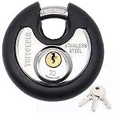 TUFF4EVER 70mm Diskus Vorhängeschloss mit 3 Schlüssel Disc Schloss Rund Diskusschloss Edelstahl mit Schwarz Gummi Gehäuse