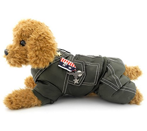 SELMAI Armee General Outfits Kleiner Hund Katze Halloween-Kostüm Overall Badge Puppy Pet Fleece Mantel Jacke Wattiert Warm Winter (Dies Stil Run Klein, die Nächste Größe Bitte), L, Armee-Grün