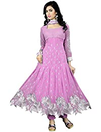 Purva Art Womens Latest Georgette Baby Pink Anarkali Dress (PA_CBPWD_526_Georgette_Semi-Stitched_Baby Pink)
