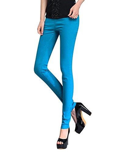 LaoZan Donna Slim Fit Elasticizzato Vita Alta Leggings Caldo pantacollant Pantaloni Azzurro Lunghezza Caviglia