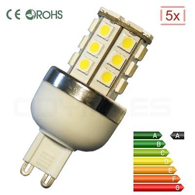 LED G9 4.5W - (5er Spar-Set) - Warmweiß - 450 Lumen !!! - mit 30 superhellen 5050SMD-LEDs - heller als 40Watt Halogen