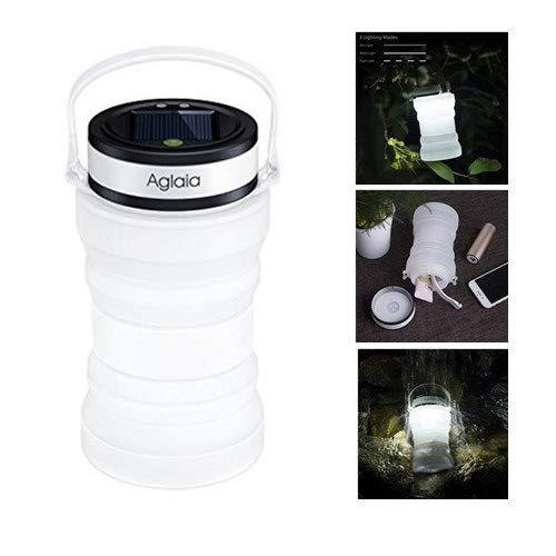 Aglaia LED farol de camping, luz solar y USB Batería lámpara de exterior con silicona plegable botella de almacenamiento, 3 modos de iluminación y resistencia al agua IPX6 para senderismo