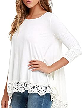 Vovotrade Encaje de mujer Manga larga Camisa blanca Blusa Casual Suelto Tops de algodón Camiseta