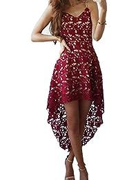 997db9035 Vestidos Mujer Vestido de encaje Vestido Sling V escote sin mangas Vestidos  asimétricos de color sólido