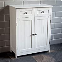 Home Discount Priano 2 Drawer 2 Door Bathroom Cabinet Storage Cupboard Floor Standing Unit, White