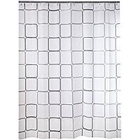 Cortina de ducha blanca y negra de los cuadrados 180x220cm / 70.86x86.61in